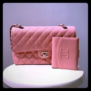Chanel caviar wallet in PINK